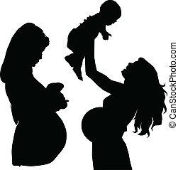 Schwangere Muttervektorsilhouette