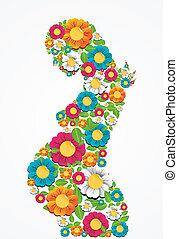 schwangerschaft, frühjahrsblumen, frau
