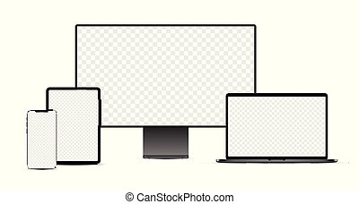 schwarz, display., laptop, tablette, devices:, elektronisch, satz, realistisch, smartphone
