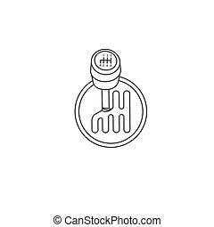schwarz, freigestellt, hintergrund, vektor, auto, fahrzeuggetriebe, einfache , grobdarstellung, icon., weißes