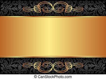 schwarz, gold, hintergrund