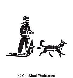schwarz, icon., clipart kinderschlitten, hintergrund, freigestellt, ikone, vektor, sled., hund, weißes