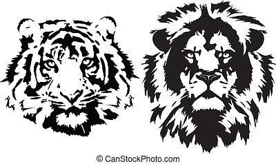 schwarz, köpfe, tiger, löwe