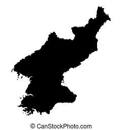 schwarz, nord, landkarte, korea