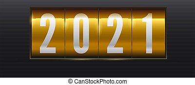 schwarz, retro, jahr, zahlen, 3d, abbildung, scoreboard., mechanisch, neu , goldenes, 2021, bankschalter, hintergrund., freigestellt, vektor