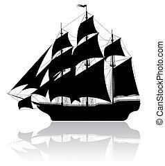 schwarz, schiff, altes