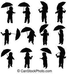 schwarz, silhouette, vektor, schirm, kind