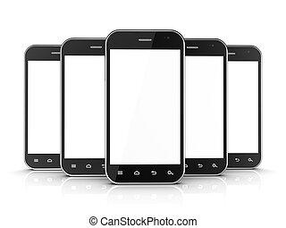 schwarz, smartphones, gruppe