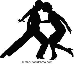 schwarz, tanzen, tanzsaal, silhouette