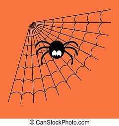 Schwarz und orange Vektor-Cartoon isoliert Spinnweb mit lustiger Spinne. Einfaches Bild mit Spinnweb für Halloween.