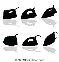 schwarz, vektor, silhouette, eisen