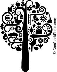 Schwarz-Weiß-Baum mit ökologischen Ikonen