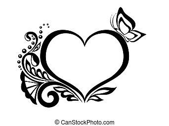 Schwarz-Weiß-Symbol eines Herzens mit Blumenmuster und Schmetterling.