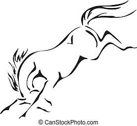 Schwarz-Weiß-Vektor-Ausschnitte von aufreißendem Pferd