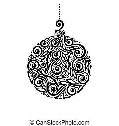 Schwarz-Weiß-Weihnachtsball mit Blumenmuster.
