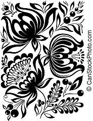 Schwarz-weiße Blumen entfernen. Retroverschmiert. Design-Element