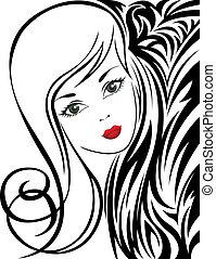 Schwarz-weißer Hintergrund mit einem Mädchen