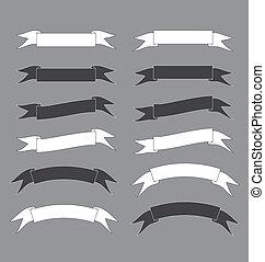 Schwarz-weißes Band Banner Vektor Illustration.