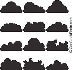 schwarz, weißes, clouds., satz, 12, objects.