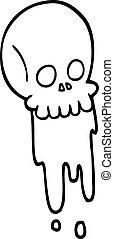Schwarz-weißes Zeichentrickblut tropft Schädel.
