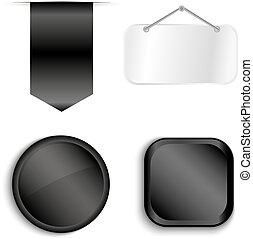 Schwarze Bänder, isoliert auf weißem Hintergrund.