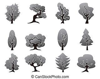 Schwarze Baum-Ikonen gesetzt