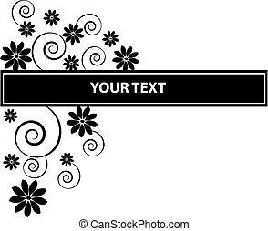 Schwarze Blumen mit Etikett auf weißem Hintergrund.