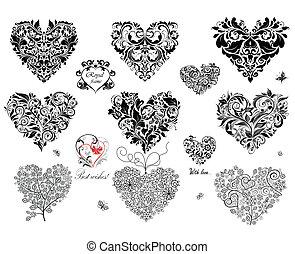 Schwarze dekorative Herzen.