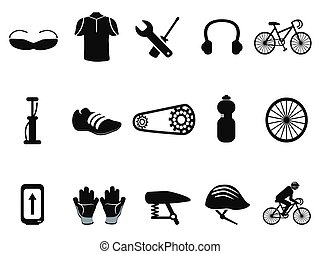 Schwarze Fahrrad-Ikonen eingestellt.