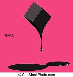 Schwarze Farbe auf rosa Hintergrund.