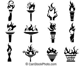 Schwarze Feuerfackel-Ikonen aktiviert
