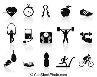 Schwarze Fitness-Ikonen aufgestellt