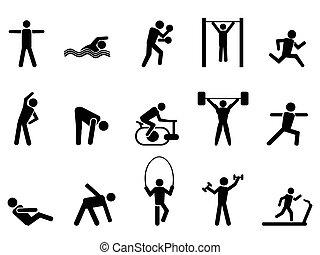 Schwarze Fitness-Mensch-Icons sind eingestellt.