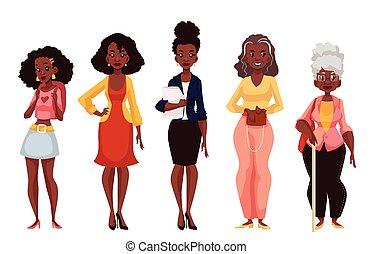 Schwarze Frauen verschiedener Altersstufen von der Jugend bis zur Reife