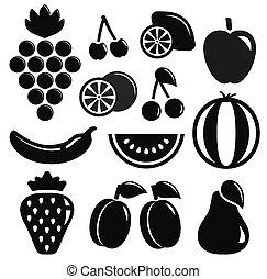 Schwarze Fruchtobjekte.