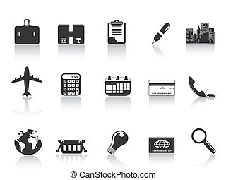 Schwarze Geschäfts-Ikonen