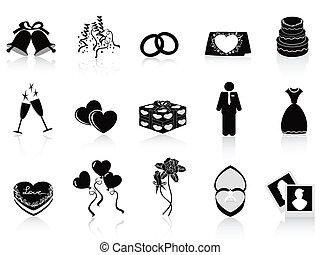 Schwarze Hochzeits-Ikonen aufgestellt