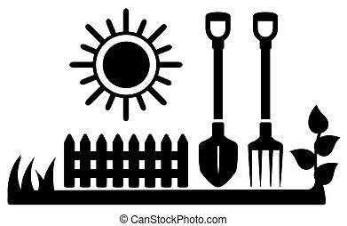 Schwarze Ikone mit Sonnen- und Gartenwerkzeugen.
