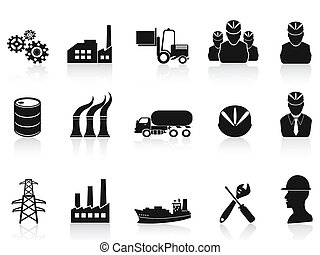 Schwarze Industrie-Ikonen aufgestellt