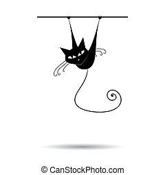 Schwarze Katze für dein Design