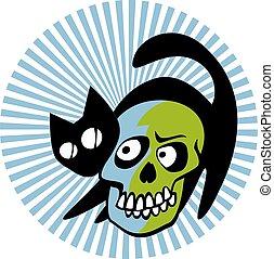 Schwarze Katze mit einem lächelnden Schädel.