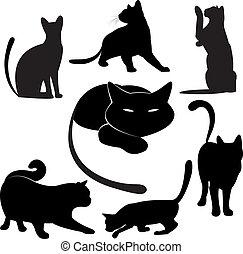 Schwarze Katze Silhouette-Sammlungen