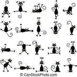 Schwarze Katzen.