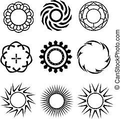Schwarze Kreise wie Designelemente.