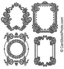Schwarze Linie Kunst-Ornate Blumen-Design Rahmen Sammlung, ukrainisch.