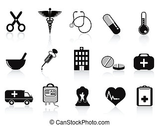 Schwarze medizinische Ikonen platziert