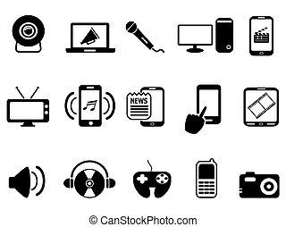 Schwarze moderne mobile Medien-Icons gesetzt.