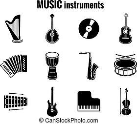 Schwarze Musikinstrument-Icons auf weißem Hintergrund.