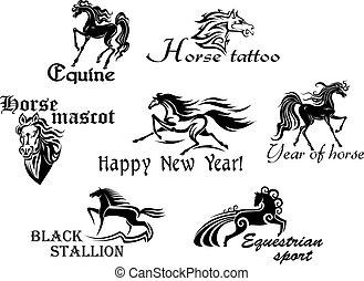 Schwarze Pferde Maskottchen.