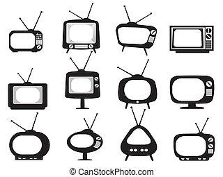 Schwarze Retro-TV-Ikonen eingestellt
